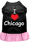 I Heart Chicago Screen Print Dog Dress Black with Light Pink XXL (18)